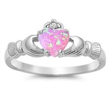 Claddagh Ring 925 Sterling Silver Pink lab Opal & Clear CZ Heart Ring