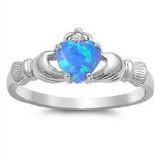 Claddagh Ring 925 Sterling Silver Blue lab Opal & Clear CZ Heart Ring