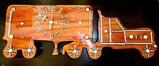 """Old 1970's Hand Made Tractor Trailer Semi Truck Wood Clock 24"""" Long Unique"""