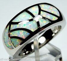 High Quality Dome White Fire Opal Inlay 925 Sterling Silver Band Ring Sz 6.75-9