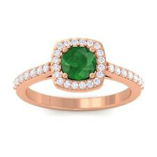 Green Emerald FG SI Fine Diamonds Gemstone Engagement Ring 14K Rose Gold