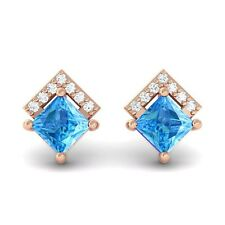 Blue Topaz FG SI Diamonds Princess Gemstone Stud Earrings 14K Rose Gold