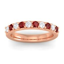 Red Garnet FG SI Round Diamonds Classic Half Eternity Band 10K Rose Gold