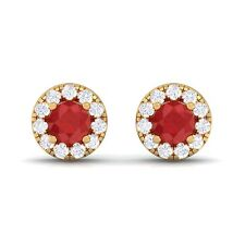 Red Ruby FG SI Diamond Gemstone Womens Halo Stud Earring 10K Yellow Gold