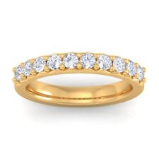 0.50ct GH SI Natural Diamonds Half Eternity Wedding Band Women 10K Yellow Gold