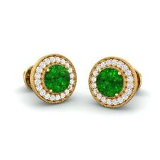 Green Emerald FG SI Diamonds Women Halo Gemsone Stud Earrings 18K Yellow Gold