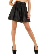 Women Sexy A Line Skater Skirt Party Mini Ladies Black Leather Look Size S M L