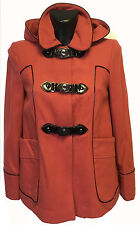 WOMENS EX TOPSHOP RED BLACK PIPED HOODED WINTER WOOL DUFFLE COAT MILITARY SIZE 8