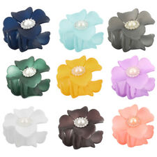 Woman Plastic Flower Shaped Bath Tool Spring Loaded Hair Claw Clip Clamp