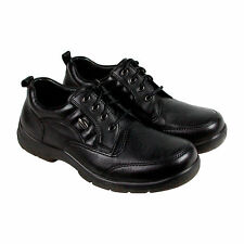 Hush Puppies Stamina Mens Black Leather Casual Dress Lace Up Oxfords Shoes