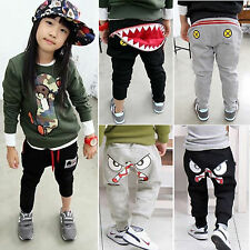 Fashion Boy Girls Baggy Harem Pants Kids Cartoon Print Sweatpants Joggers Bottom