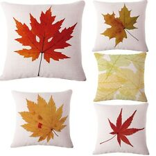 "Autumn Maple Leaves Linen Cushion Cover Throw Pillow Case Car Home Decor 18"" New"