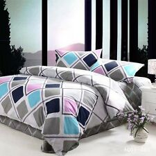 Checked Duvet Quilt Doona Cover Set Double/Queen/King Bed Size Cover 100%Cotton