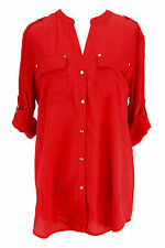 Charter Club Womens Long Sleeve Button Down Shirt - Red Polyester