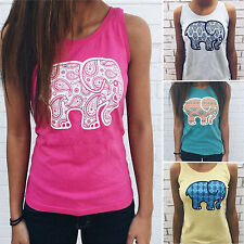 Women Sleeveless Elephant Print Summer Casual Loose T Shirt Blouse Tee Vest Tops