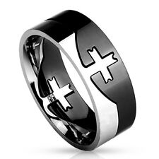 Black Silver Cross Ring Stainless Steel Two Tone Cross Puzzle Band