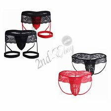 Sexy Men's  Lace Boxer Briefs Underwear Trunks Shorts Bulge Pouch Underpants