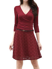 Women Floral Lace Panel 3/4 Sleeves Belted Midi Flared Dress