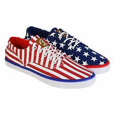 Radii Mens Axel Red Blue Canvas Lace Up Sneakers Shoes