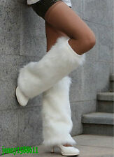 Fashion faux fur funky leg warmers boots cover club dance shoes cover white
