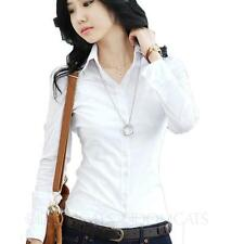 womens ladies Elegant blouse Long Sleeve shirt Buttoned Career Fashion Top Size