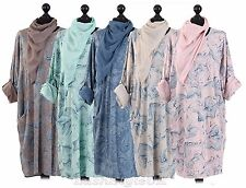 New Ladies Abstract Print Lagenlook Dress Women Front Pocket Dress Plus Sizes