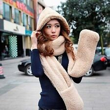 Women's Winter Fleece Scarf Set 3 In 1 Scarf Hat And Gloves Set