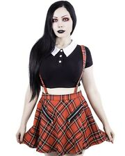 Banned Apparel Gothic Goth Punk Highlife Pinafore Mini Skirt Red Tartan Straps