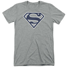 Superman Navy & White Shield Mens Tri-Blend Shirt ATHLETIC HEATHER
