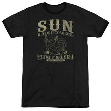 Sun Records Rockabilly Bird Mens Adult Heather Ringer Shirt Black