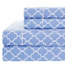 Printed Meridian 100% Cotton Percale Woven 250TC Sheets (Periwinkle , 6-Sizes)