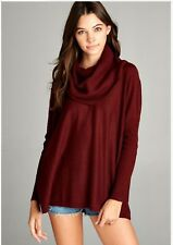 Slouchy Fit Cowl Neck Sweater Black Burgundy Wine Wool Blend New S M L
