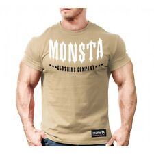 NEW Monsta Clothing Co. Signature Spike Tips T-Shirt For Gym: Military Tan