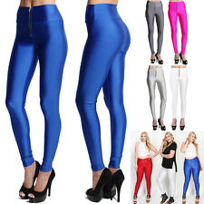 TheMogan Shiny Wet Look Zip Front High Waisted Leggings Stretch Dance Pants