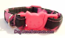 Pink Flames Cat Collar, 100% Cotton, Adjustable, Handmade, Washable