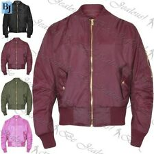 Kids Plain MA1 Quilted Front Button Pockets Girls Zipped Up Boys Bomber Jacket