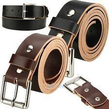 "LEATHER WORK BELT AMISH HANDMADE GUN HOLSTER BELTS MENS 1 1/2"" BLACK/BROWN"