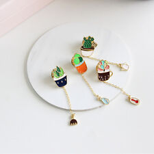 Popular Colorful Cartoon New Kids Girls Gift Pin Green Cactus Brooch Fashion
