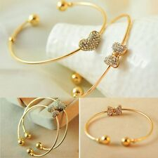 Rhinestone Love Heart Single For Ladies Jewelry Bracelet Bangles Gold Plated