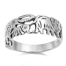 Plain Elephants Band .925 Sterling Silver Ring Sizes 5-10