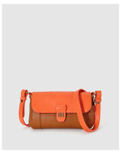 Hollis two-tone orange and brown messenger bag with a foldover flap