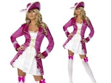 Adults Pink Pirate Treasure Costume Ladies Deluxe Fancy Dress Outfit