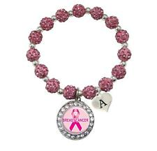 Custom Breast Cancer Awareness Pink Bling Bracelet Jewelry Choose Initial Family
