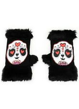 Too Fast Fur Trimmed Panda Fingerless Gloves Rockabilly Punk Gothic Tattoo Emo