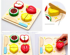 Wooden Cut Fruit  Dessert Play Kitchen Toys Play Cooking Puzzle Educational Toy