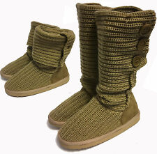 WOMENS BROWN BEIGE LOW FLAT ROUND CALF LENGTH SNUGG FABRIC KNITTED BOOTS 3,4
