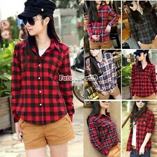Women Lapel Check Long Sleeve Blouse Button Down Plaid Shirt Casual Loose FT