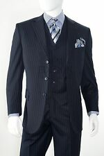 Men's 3 Piece Single Breasted Classic Pinstripe Notched No Vents Navy Blue Suit