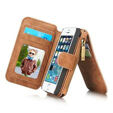 Multi-functional Vintage Genuine Leather Wallet For iPhone 5 5s SE Cover Case
