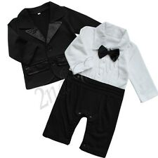 Baby Boy Formal Romper Suit Tuxedo Formal Christening Wedding Christmas Outfit
